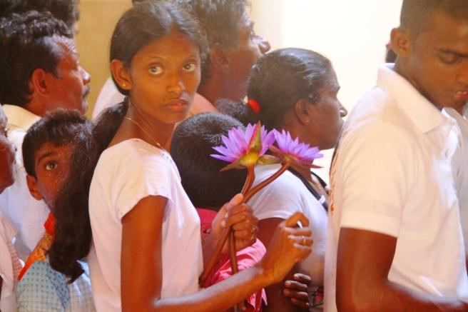 Devotees inside the Sacred Temple, Kandy