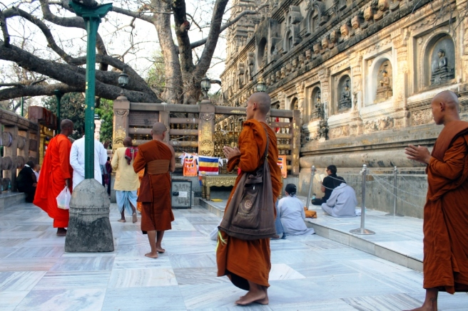 7. Monks at the temple complex in Bodh Gaya