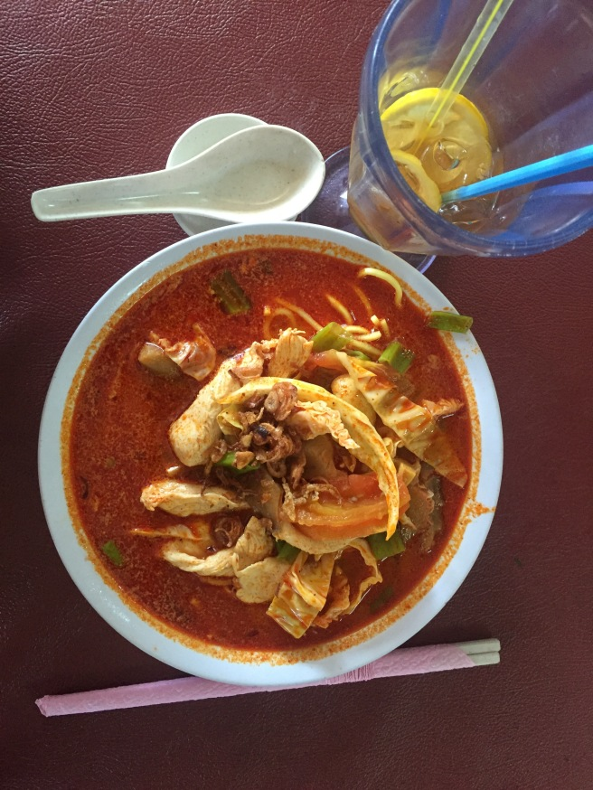 A hearty bowl of Tom Yum soup.